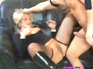 bulky aged blond wife karola trades head and