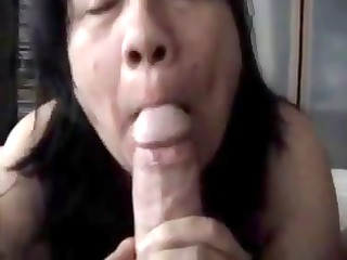 chunky older swallows his cock and licks his feet