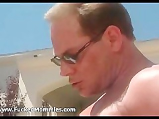 chesty mommy suck and fuck a large dick at pool