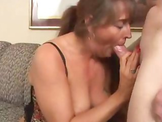 horny, chubby brunette granny eats shlong and