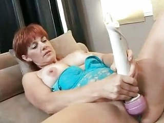 red sexy momma calliste pounds her twat with toys