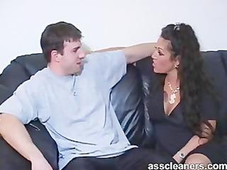 willingly licking a horny domina arse gap