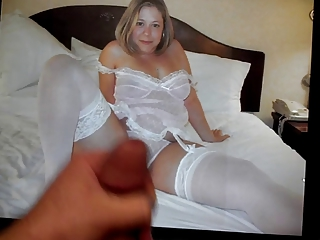 cum tribute on a lingerie-clad bbw milf playgirl