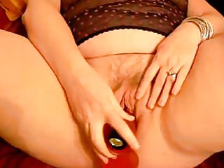 horny aged with her red pounder