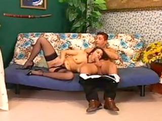 older sex on the sofa