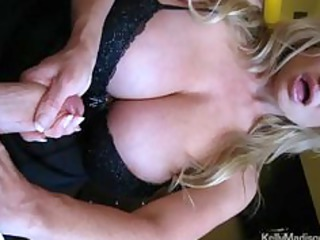 mega titted wife giving a sexy cook jerking