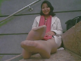 asian older stinky feet after work