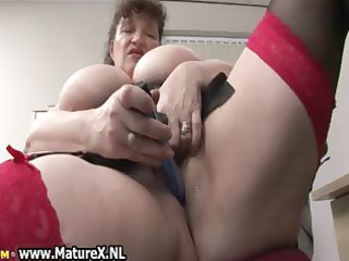 horny bulky aged lady copulates