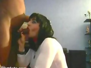 gorgeous wife sucks hubbys black ramrod