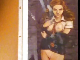 hermione granger (emma watson anime pic) gets cum