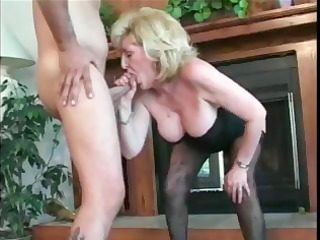 aged aged golden-haired lady is sucking a fucking