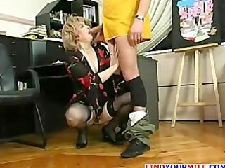 mature secretary entice young boss