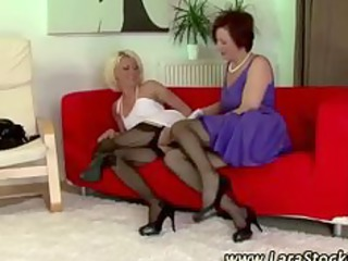 mature stocking lesbian foreplay oral