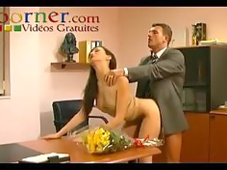 threesome in the office - 3 girls 4 stud