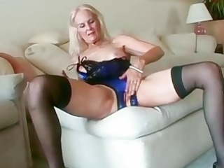 sexy blond granny toys her snatch previous to