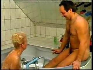 wicked german grandma drilled in bathtub amateur