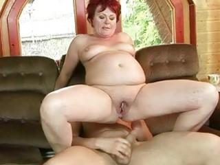 bulky grandma gets her tight slit drilled hard