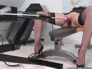 older brit enjoying fuck machine