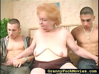 grandma engulfing on two hard schlongs