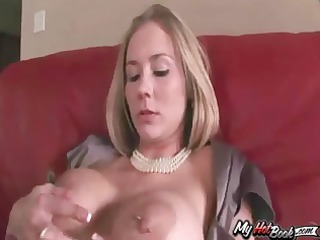 blond milf, mackenzie star playing with her large