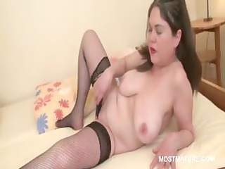 older whore gets orgasmic pleasures with vibrator