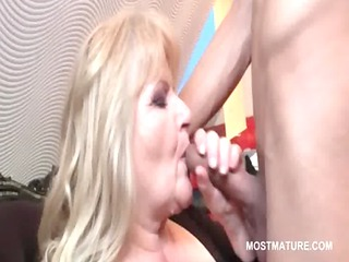 golden-haired mature loves engulfing knob and ass