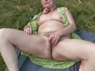 next door granny rubbing her old hairy old in her