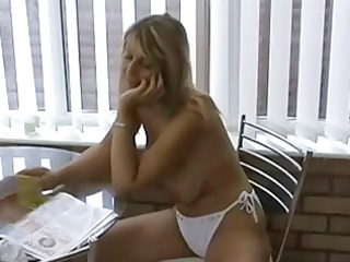 hawt milf in bikini playing with tits &; slit