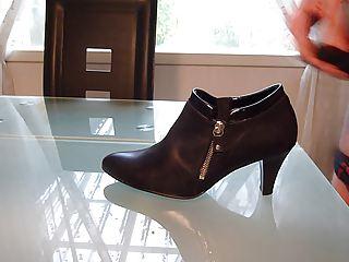 cum in wifes high cut court shoe