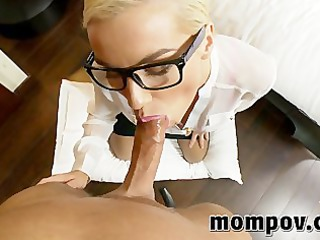 blond secretary receives drilled in her ass