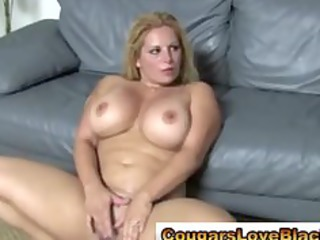 cougar plumper receives double interracial spunk
