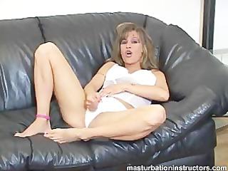jerk off teacher in lingerie widens legs for