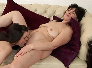 overweight brunette mommy and young babe having