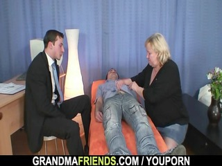 granny gives double blow job then doggystyled