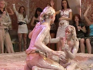nice looking milf ladies in lesbian mud wrestling