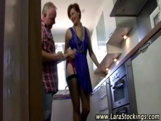 aged stocking oral job slit licking pair