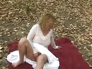 my cute wife rubbing her pussy in public park