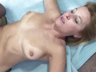 curvy and aged golden-haired liisa is riding a
