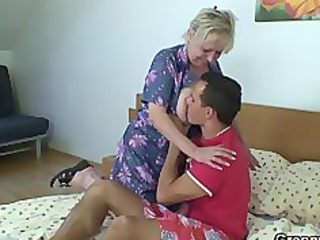 naughty granny takes new schlong