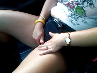 horny wife masturbates in the car